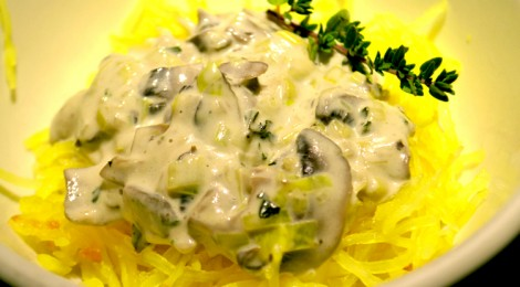 RECIPE: Spaghetti Squash with Mushroom Alfredo